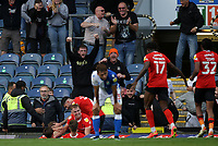 11th September 2021; Ewood Park, Blackburn, Lancashire England; EFL Championship football, Blackburn Rovers versus Luton Town; Luke Berry of Luton Town celebrates with his team mates and the visiting supporters after scoring the equalising goal after 8 minutes of added time