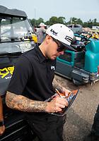 Aug 19, 2018; Brainerd, MN, USA; NHRA funny car driver Jonnie Lindberg during the Lucas Oil Nationals at Brainerd International Raceway. Mandatory Credit: Mark J. Rebilas-USA TODAY Sports