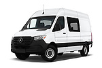Stock pictures of low aggressive front three quarter view of a 2019 Mercedes Benz Sprinter-Crew-Van Base 4 Door Combi
