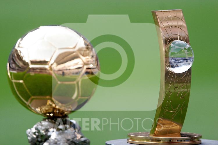 Fabio Cannavaro's Golden Ball and FIFA World Player trophies before Spain's La Liga match between Real Madrid and Espanol at Santiago Bernabeu Stadium, Saturday May 12, 2007. (ALTERPHOTOS/Alvaro Hernandez).