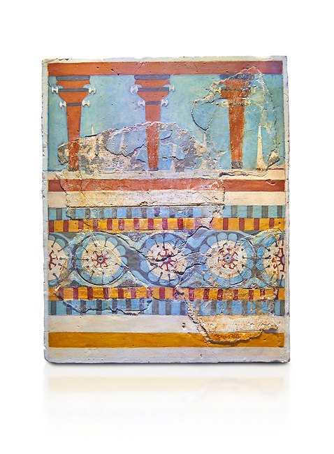 "The Minoan ""Three columned Shrine"" minture fresco Knossos-Palace, 1700-1450 BC . Heraklion Archaeological Museum.,white background<br /> <br /> <br /> The freco depicts a portico with columns on which double axes are fixed, separated by horns of consecration, on a balustrade decorated with rosettes"