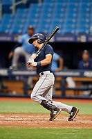 Connor Hollis (4) follows through on a swing during the Tampa Bay Rays Instructional League Intrasquad World Series game on October 3, 2018 at the Tropicana Field in St. Petersburg, Florida.  (Mike Janes/Four Seam Images)
