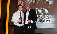 Photo: Richard Lane/Richard Lane Photography. London Wasps End of Season Awards Dinner, 09/05/2012. Causeway Academy Player of the Season, Elliot Daly with Rob Smith.