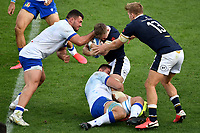 Giosue Zilocchi of Italy , Darcy Graham of Scotland , Jake Polledri of Italy and Chris Harris of Scotland compete for the ball during the rugby Autumn Nations Cup's match between Italy and Scotland at Stadio Artemio Franchi on November 14, 2020 in Florence, Italy. Photo Andrea Staccioli / Insidefoto