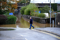Pictured: Flooding caused by Storm Callum in Carmathen, Wales, UK. Sunday 14 October 2018<br /> Re: The aftermath of the flood caused by the unusually high tide of rover Towy and storm Callum in Carmarthen west Wales, UK.
