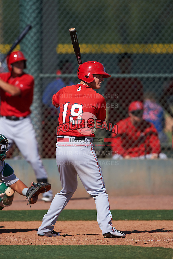 Los Angeles Angels Brendon Sanger (19) during an instructional league game against the Oakland Athletics on October 9, 2015 at the Tempe Diablo Stadium Complex in Tempe, Arizona.  (Mike Janes/Four Seam Images)