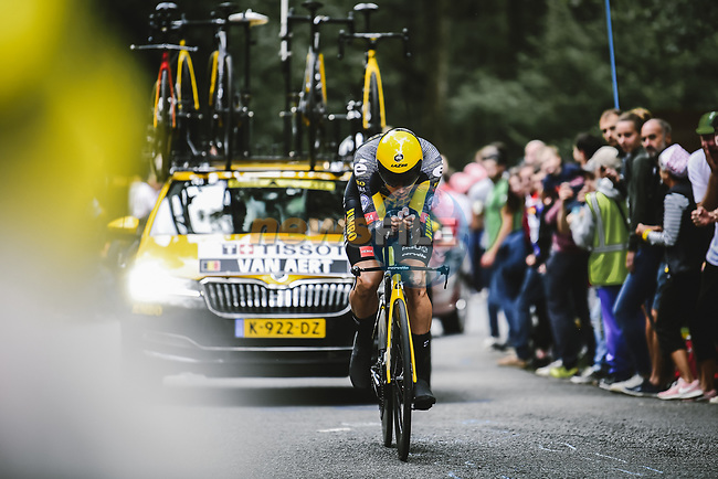 Wout Van Aert (BEL) Jumbo-Visma in action during Stage 5 of the 2021 Tour de France, an individual time trial running 27.2km from Change to Laval, France. 30th June 2021.  <br /> Picture: A.S.O./Pauline Ballet | Cyclefile<br /> <br /> All photos usage must carry mandatory copyright credit (© Cyclefile | A.S.O./Pauline Ballet)