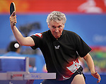Ian Kent of Eastern Passage, N.S. plays Zeev Glikman of Israel in table tennis action at the Paralympic Games in Beijing, Sunday, Sept., 7, 2008.  Glikman defeated Kent three sets to one.  Photo by Mike Ridewood/CPC