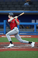 Owen DeShazo (29) of Hanover High School (VA) playing for the Red Sox scout team follows through on his swing during game one of the South Atlantic Border Battle at Truist Point on September 26, 2020 in High Pont, NC. (Brian Westerholt/Four Seam Images)