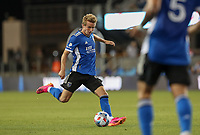 SAN JOSE, CA - MAY 15: Jackson Yueill #14 of the San Jose Earthquakes passes off the ball during a game between Portland Timbers and San Jose Earthquakes at PayPal Park on May 15, 2021 in San Jose, California.
