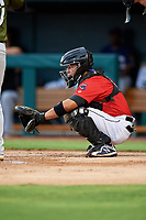 Jacksonville Jumbo Shrimp catcher Rodrigo Vigil (6) waits to receive a pitch during a game against the Biloxi Shuckers on June 8, 2018 at Baseball Grounds of Jacksonville in Jacksonville, Florida.  Biloxi defeated Jacksonville 5-3.  (Mike Janes/Four Seam Images)