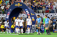 DALLAS, TX - JULY 25: The USMNT enter the pitch before a game between Jamaica and USMNT at AT&T Stadium on July 25, 2021 in Dallas, Texas.