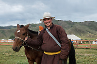 Mongolia, Ovorkhangai Province, Kharakhorum. Nomad cowboy at Munkh Tenger Ger Camp.