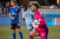 SAN JOSE, CA - MAY 22: JT Marcinkowski #1 of the San Jose Earthquakes traps the ball during a game between San Jose Earthquakes and Sporting Kansas City at PayPal Park on May 22, 2021 in San Jose, California.
