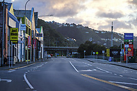Old Hutt Road, Wellington CBD at 7.30am, Wednesday during Level 4 lockdown for the COVID-19 pandemic in Wellington, New Zealand on Thursday, 19 August 2021.