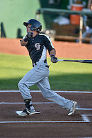 Jose Gomez (3) of the Grand Junction Rockies follows through on his swing against the Ogden Raptors during the Pioneer League game at Lindquist Field on August 25, 2016 in Ogden, Utah. The Rockies defeated the Raptors 12-3. (Stephen Smith/Four Seam Images)