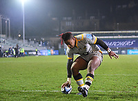 8th January 2021; Recreation Ground, Bath, Somerset, England; English Premiership Rugby, Bath versus Wasps; Paolo Odogwu of Wasps scores a try