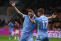 Ciro Immobile of Lazio celebrates with team mate Manuel Lazzari after heading the ball into the net from his cross to give the side a 1-0 lead during the Serie A match at Giuseppe Meazza, Milan. Picture date: 3rd November 2019. Picture credit should read: Jonathan Moscrop/Sportimage PUBLICATIONxNOTxINxUK SPI-0299-0016<br /> Milano 03-11-2019 Stadio San Siro <br /> Football Serie A 2019/2020 <br /> AC Milan - SS Lazio <br /> Photo Jonathan Moscrop / Sportimage / Imago  / Insidefoto <br /> ITALY ONLY