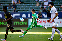 CARSON, CA - MAY 8: Jonathan Bond #1 of the Los Angeles Galaxy sends a ball down field during a game between Los Angeles FC and Los Angeles Galaxy at Dignity Health Sports Park on May 8, 2021 in Carson, California.