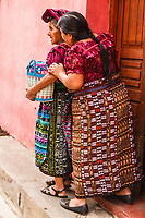 south America, Guatemala. San Juan La laguna, old maya women with their typical costume