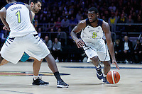 July 14, 2016: KADEEM ALLEN (5) of the Arizona Wildcats dribbles the ball during game 2 of the Australian Boomers Farewell Series between the Australian Boomers and the American PAC-12 All-Stars at Hisense Arena in Melbourne, Australia. Sydney Low/AsteriskImages.com