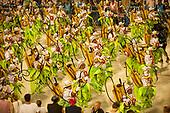 Imperatriz Leopolinense Samba School, Carnival, Rio de Janeiro, Brazil, 26th February 2017. Samba school dancers dressed as ranchers carrying agrotoxin sprayers.