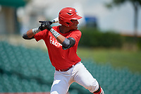 Moises Ramirez (8) during the Dominican Prospect League Elite Underclass International Series, powered by Baseball Factory, on August 1, 2017 at Silver Cross Field in Joliet, Illinois.  (Mike Janes/Four Seam Images)