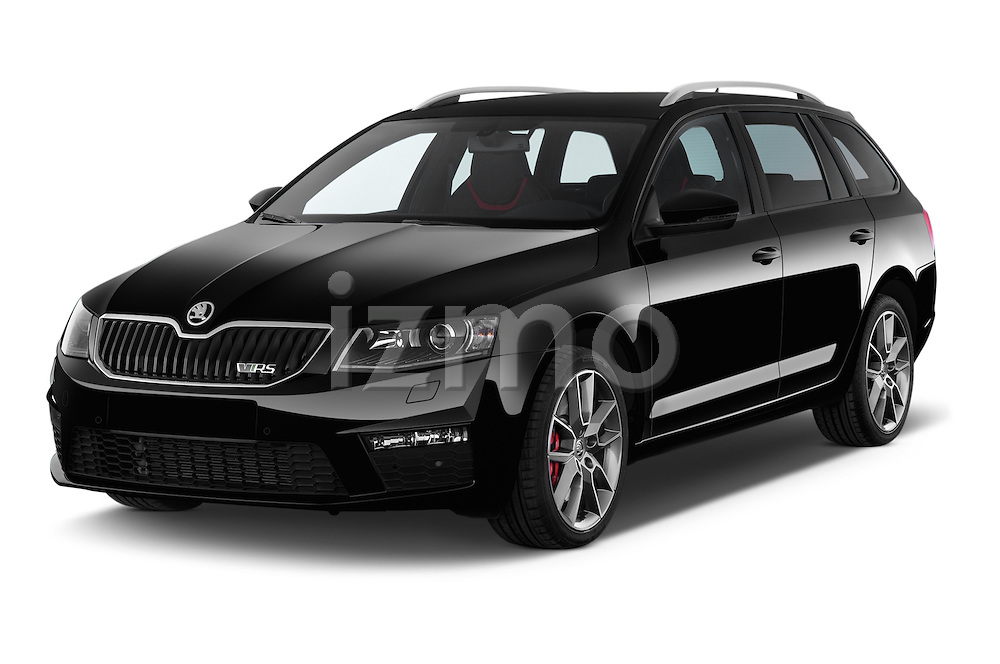 2014 Skoda Octavia 2.0 CRTDI 135kw DSG6 RS 5 Door Wagon 2WD Angular Front stock photos of front three quarter view