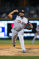 Toledo Mud Hens relief pitcher Melvin Mercedes (44) delivers a pitch to the plate against the Charlotte Knights at BB&T BallPark on April 27, 2015 in Charlotte, North Carolina.  The Knights defeated the Mud Hens 7-6 in 10 innings.   (Brian Westerholt/Four Seam Images)