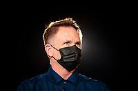 Nov 1, 2020; Las Vegas, Nevada, USA; NHRA president Glen Cromwell wears a face mask during the NHRA Finals at The Strip at Las Vegas Motor Speedway. Mandatory Credit: Mark J. Rebilas-USA TODAY Sports