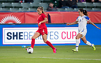 CARSON, CA - FEBRUARY 07: Shelina Zadorsky #4 of Canada dribbles with the ball during a game between Canada and Costa Rica at Dignity Health Sports Complex on February 07, 2020 in Carson, California.