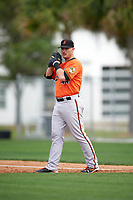 Baltimore Orioles Joey Terdoslavich (44) during a minor league Spring Training intrasquad game on April 2, 2016 at Buck O'Neil Complex in Sarasota, Florida.  (Mike Janes/Four Seam Images)
