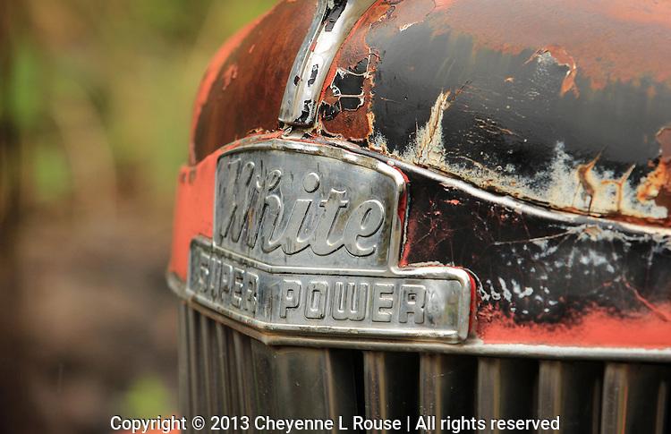 White Super Power Hood detail - AZ - old truck