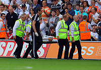 Saturday, 01 September 2012<br /> Pictured: Neil Taylor of Swansea being stretchered off pitch.<br /> Re: Barclays Premier League, Swansea City FC v Sunderland at the Liberty Stadium, south Wales.