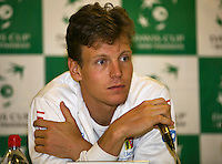 02-02-14,Czech Republic, Ostrava, Cez Arena, Davis Cup Czech Republic vs Netherlands, Press-conference with Tomas Berdych (CZE)<br /> Photo: Henk Koster