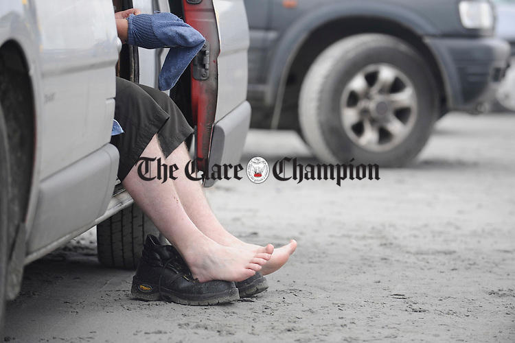Shane Callinan's  feet take a rest after competing at the Leon Currach Regatta at Seafield, Quilty. Photograph by John Kelly.