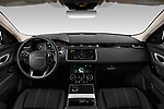 Stock photo of straight dashboard view of 2020 Land Rover Range-Rover-Velar S 5 Door SUV Dashboard