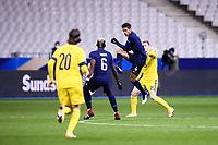 17th November 2020; Stade de France, Paris,  France; UEFA National League international football, France versus Sweden;  RAPHAEL VARANE (FRA) wins the high ball against Kulusevski of Sweden