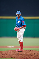 Clearwater Threshers relief pitcher Trevor Bettencourt (39) looks in for the sign during a game against the St. Lucie Mets on August 11, 2018 at Spectrum Field in Clearwater, Florida.  St. Lucie defeated Clearwater 11-0.  (Mike Janes/Four Seam Images)