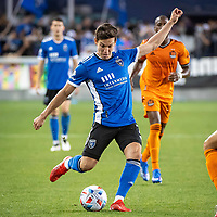 SAN JOSE, CA - JULY 24: Carlos Fierro #7 of the San Jose Earthquakes passes the ball during a game between San Jose Earthquakes and Houston Dynamo at PayPal Park on July 24, 2021 in San Jose, California.