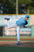 Burlington Royals starting pitcher Noah Murdock (43) follows through on his delivery against the Johnson City Cardinals at Burlington Athletic Stadium on September 3, 2019 in Burlington, North Carolina. The Cardinals defeated the Royals 7-2 to even Appalachian League Championship series at one game a piece. (Brian Westerholt/Four Seam Images)