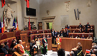 L'attivista birmana e vincitrice del Premio Nobel per la Pace del 1991 Aung San Suu Kyi, in basso, riceve la cittadinanza onoraria di Roma durante una cerimonia col sindaco Ignazio Marino, in Campidoglio, Roma, 27 ottobre 2013.<br /> Burmese opposition leader and Nobel Prize laureate Aung San Suu Kyi, third bottom, attends a ceremony with Rome's Mayor Ignazio Marino, to receive the honorary citizenship at the Campidoglio city hall in Rome, 27 October 2013.<br /> UPDATE IMAGES PRESS/Isabella Bonotto