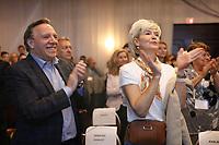 Le  Premier ministre Francois Legault<br /> et son epouse Isabelle Brais, <br />  lors du Conseil general<br /> de la CAQ , 25-26 mai 2019<br /> <br /> PHOTO : Agence Quebec Presse