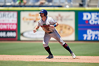 Fort Myers Miracle center fielder Jimmy Kerrigan (8) leads off during a game against the Clearwater Threshers on April 25, 2018 at Spectrum Field in Clearwater, Florida.  Clearwater defeated Fort Myers 9-5.  (Mike Janes/Four Seam Images)