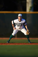 Chicago State Cougars shortstop Julian Russell (1) during a game against the Georgetown Hoyas on March 3, 2017 at North Charlotte Regional Park in Port Charlotte, Florida.  Georgetown defeated Chicago State 11-0.  (Mike Janes/Four Seam Images)