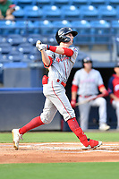 Greenville Drive Nick Sogard (11) swings at a pitch during a game against the Asheville Tourists on July 14, 2021 at McCormick Field in Asheville, NC. (Tony Farlow/Four Seam Images)