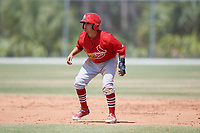 St. Louis Cardinals Irving Lopez (7) during a Minor League Spring Training game against the Miami Marlins on March 26, 2018 at the Roger Dean Stadium Complex in Jupiter, Florida.  (Mike Janes/Four Seam Images)