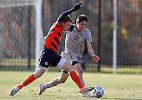 WASHINGTON, DC - NOVEMBER 25, 2012: Andy Riemer (20) of Georgetown University battling for the ball against Jordan Vale (2) of Syracuse University during an NCAA championship third round match at North Kehoe field, in Georgetown, Washington DC on November 25. Georgetown won 2-1 after overtime and penalty kicks.