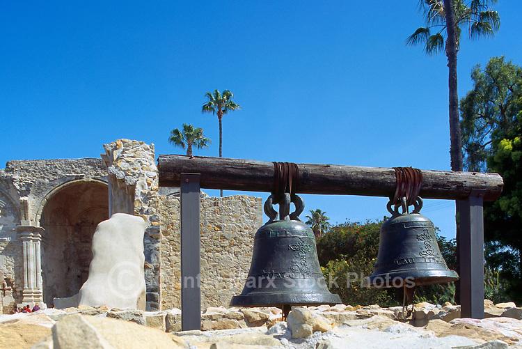 Mission San Juan Capistrano, San Juan Capistrano, California, USA - the Original Mission Bells hanging in front of the Great Stone Church - Historic Landmark founded 1776