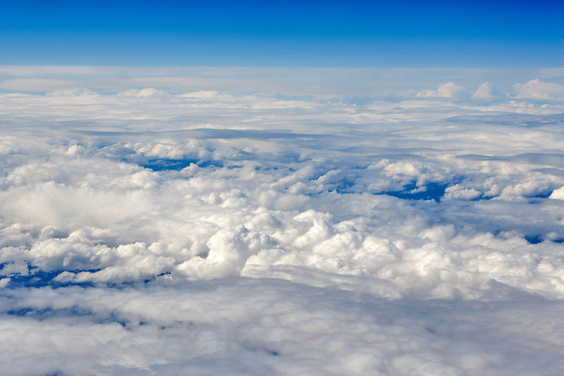 Clouds over California from 32,000 feet.